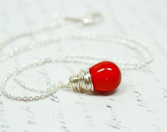 Shiny Red Teardrop Necklace, Opaque Red Glass Drop Pendant, Simple Wire Wrap Jewelry, Matte Lipstick Red Droplet