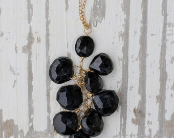 Black Sapphire Cluster Necklace with Gold Filled Chain