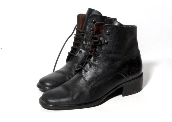 vintage black lace up ankle boots black 8