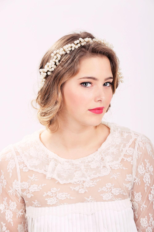 ivory pearl crown pearl headpiece wedding headband bridal