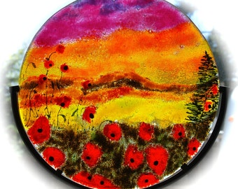 Fused Glass Poppies Sunset Sky Gift for Her Gift for Him