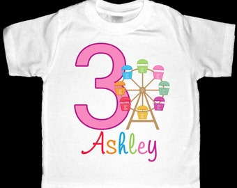 Personalized Ferris Wheel Birthday Shirt or Bodysuit - Personalized with ANY name and age