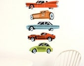 Vintage Cars Wall Decals 'Highway', Fabric (not vinyl) - Mini