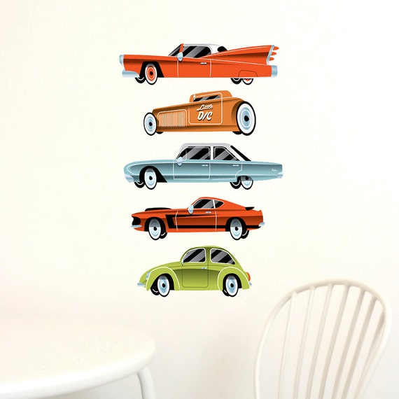 Vintage cars wall decals 39 highway 39 fabric not vinyl for Cars wall mural sticker