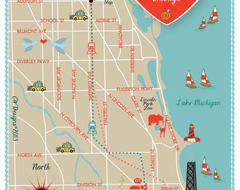 Custom Wedding Map with Itinerary -- Chicago, IL (Red & Blue)