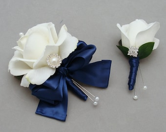 White and Navy Real Touch Rose Wedding Boutonniere & Wedding Corsage with Rhinestone Pearl Accents Navy Ribbon