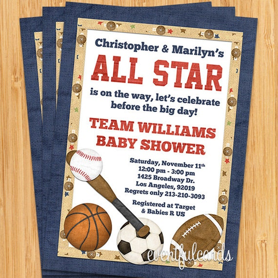 all star sports baby shower invitation by eventfulcards catch my