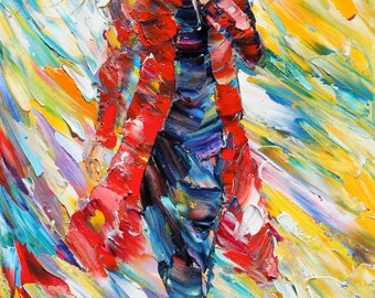 Fine art Print - Rain Dance in Red - print made from oil painting image by Karen Tarlton impressionistic palette knife fine art