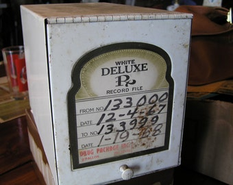 Vintage - White Deluxe RX Record File Metal Box