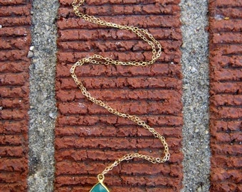 AAA-Grade Emerald Green Onyx 24K Gold Vermeil Charm Necklace With 14 Karat Gold Filled Chain And Accents Also Available In Sterling Silver