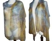 Hand dyed blue Shibori Silk shawl scarf wrap