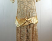 RESERVED - vintage 1920s costume downton abbey dress - peach lace overdress - theatre costume