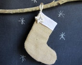 Petite burlap and linen stocking with monogrammed star charm