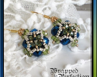 Blue Green Silver & Gold Earrings / Crystal / Renaissance Ren Faire / Seed Beads / Beadweaving / Medici Collection / Opulent Dangle
