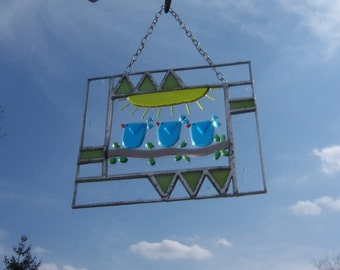 Blue Birds of Happiness // Fused Glass // Stained Glass // Tree // Family // Small // Cute // Whimsical // Colorful // Sunshine // Cheerful
