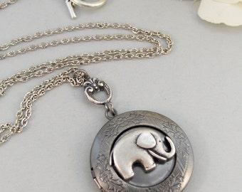 Winnie,Locket,Elephant,Silver Locket,Animal, Locket, Antique Locket,Elephant Locket.. jewelry by valleygirldesigns