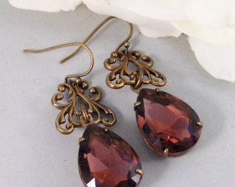Garnet Lace,Vintage Earrings,Garnet Earrings,Brass Earrings,Garnet,Birthstone,January. Handmade Jewelry by valleygirldesigns.