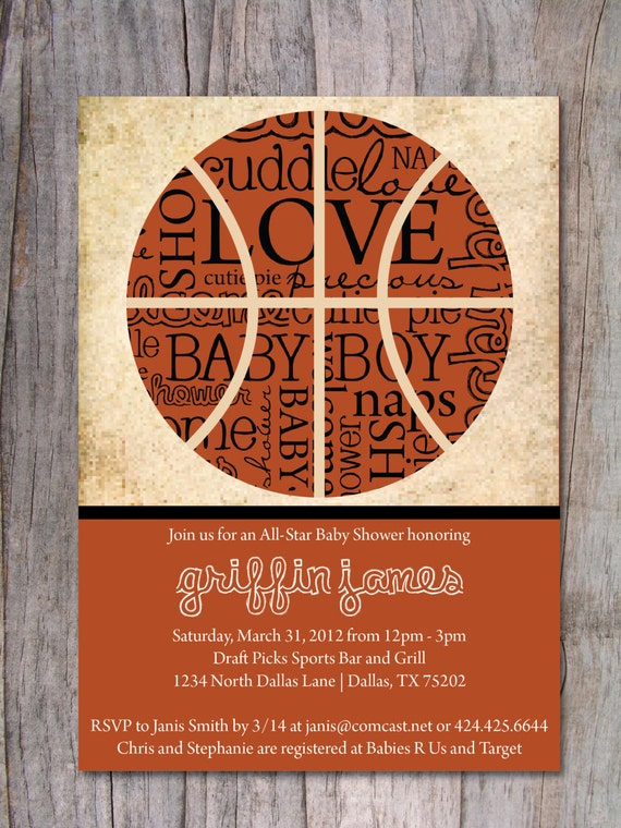 items similar to basketball baby shower invitation on etsy