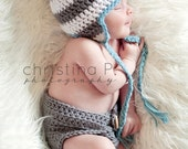 Newborn Photo Prop, Crochet Hat & Crochet Diaper Cover, Baby Boy, Handmade, Earflap Hat  - Sizes NEWBORN TO 12 MONTHS - more color options