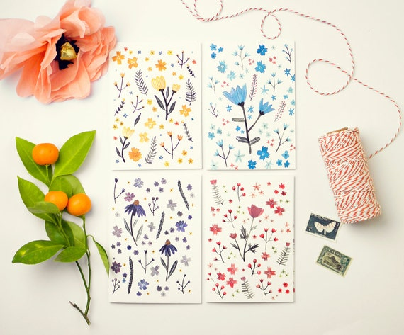 Mixed Card Set - Set of Four Floral Greeting Cards