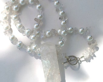 SALE;big bold statement  Quartz Crystal Pearl statement necklace Bridal, crystal pendent