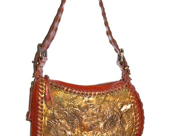 FENDI Handbag Whipstitch Cordovan Leather Engraved Metal Oyster Bag - AUTHENTIC -