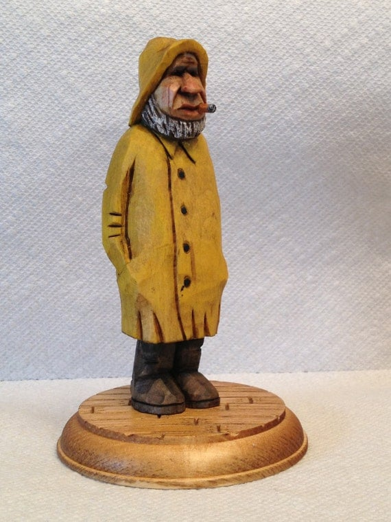 Hand Carved Old Salty The Fisherman Wood Carving