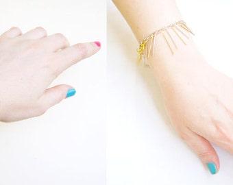 Chain Fringe Bracelet, Minimalist Chain Bracelet, Silver or Gold Bracelet, Bar Minimal Bracelet