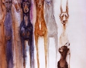Doberman Gang, Dobey.  Watercolor dog print signed by the artist, Carol Ratafia. Double matted to 10x12
