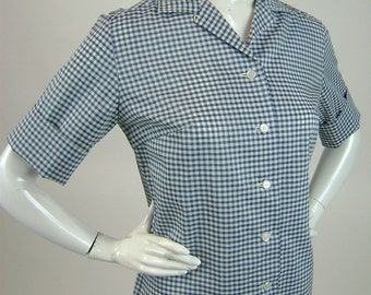 Vintage 1960s Blouse, Retro Blue and White Gingham Check, Short Sleeve Button Front Womens Shirt, B39 W36