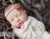Orange Flower Headband. Newborn Headband. Autumn Headband. Girl Headband. Tiny Rose. Photography Prop. Rosette. Skinny Elastic. JOSIE