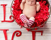 Ready to Ship Crochet Newborn Baby Valentine Headband Legwarmer Set, Girl Photo Prop, Baby Shower Gift, Red