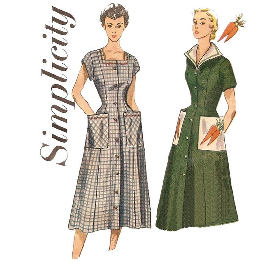 1950s Womens Housedress and Smock - Simplicity 3423 Vintage Pattern - Bust 36 Size 18
