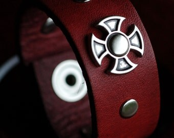 Red  Leather Cuff with iron cross center piece and accent rivets