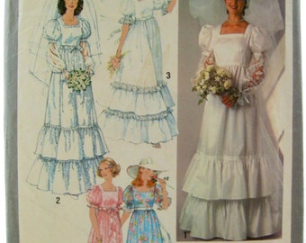 Simplicity 8371 Long Ruffled Wedding Dress 1970s Vintage Sewing Pattern Bust 31