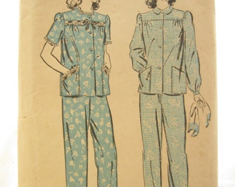 Advance 3307 Womens 1940s Cute Pajama Pants and Shirt Vintage Sewing Pattern Bust 36