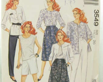1980s McCalls 3549 Womens Shirt or Top Pants Shorts and Skirt Vintage Sewing Pattern Bust 42