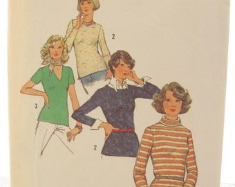 1970s Simplicity 6624 Misses Knit Top Vintage Sewing Pattern Bust 32