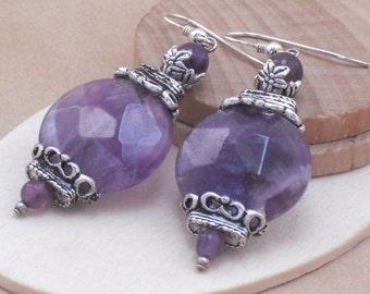 Earrings Amethyst Coins in Antique Silver, Genuine Amethyst Earrings, February Birthstone, Sterling Silver  Purple Stone  Earrings