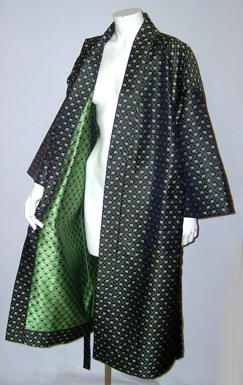 Vintage jim thompson elephant print thai silk kimono robe for Thai silk jim thompson