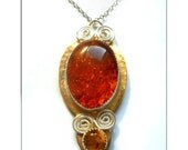 Vintage Inspired Baltic Amber Metalwork Pendant Necklace-The Ambrosial Amber Necklace
