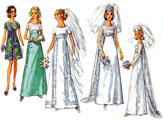 Wedding Dress Patterns Empire Line : S wedding dress pattern simplicity empire line detachable train