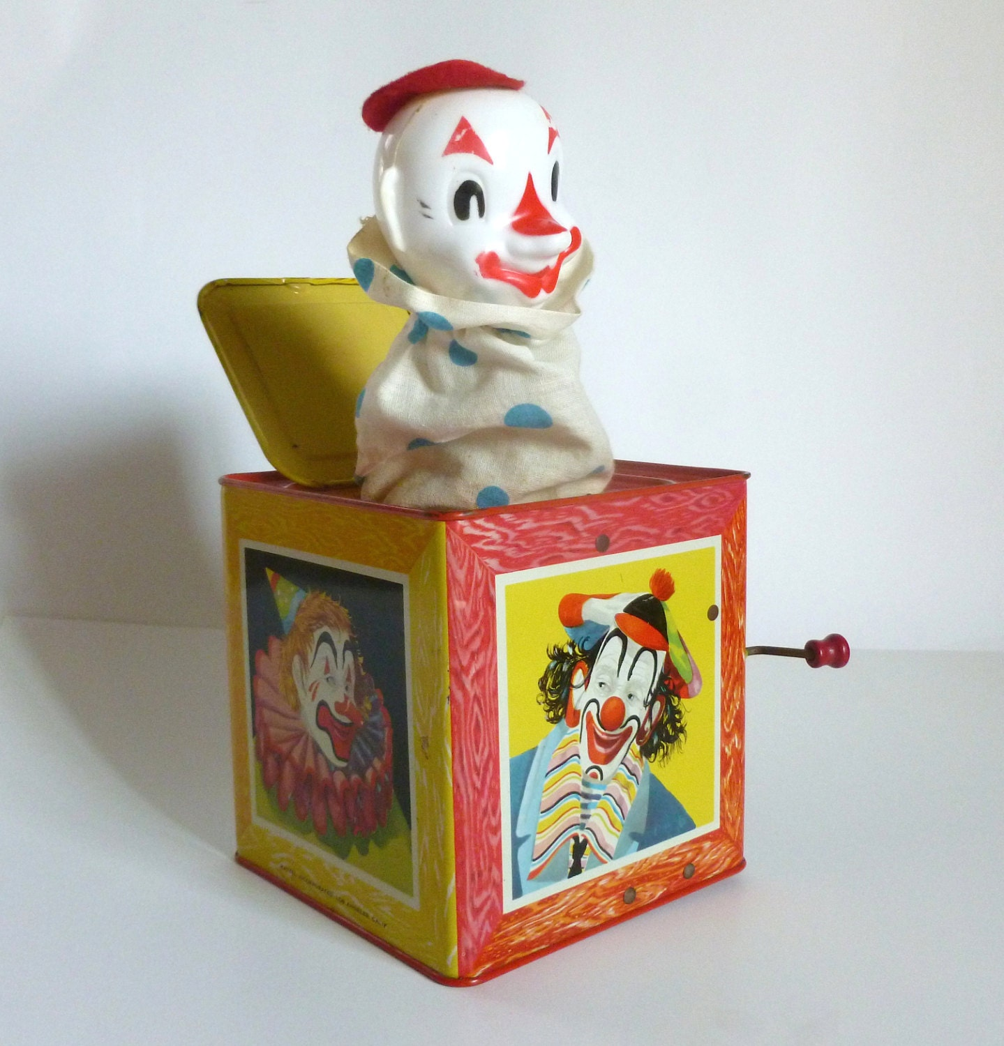Toys From 1953 : Mid century c mattel metal toy jack in the box clown