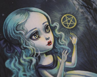 Page of Pentacles - Limited Edition signed numbered 8x10 pop surrealism lowbrow Fine Art Print by Mab Graves -unframed