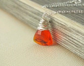Orange Quartz Necklace, Orange Necklace, Quartz Necklace, Orange, Fall Jewelry, Maineteam