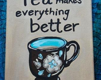 Tea painting 8x10 acrylic on canvas