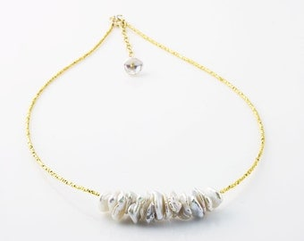 Keshi Pearl Necklace, Gold Necklace, Bridal Necklace, Keshi Pearl and Vermeil Beaded Necklace