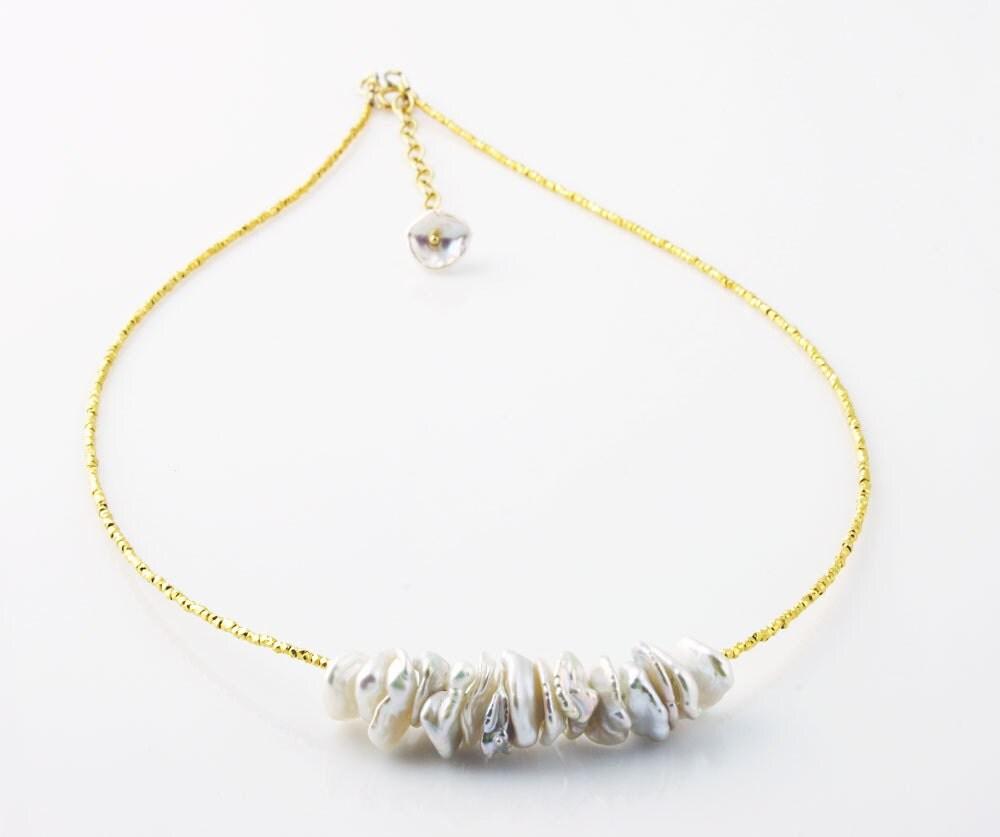 Keshi Pearl Necklace: Keshi Pearl Necklace Gold Necklace Bridal Necklace Keshi