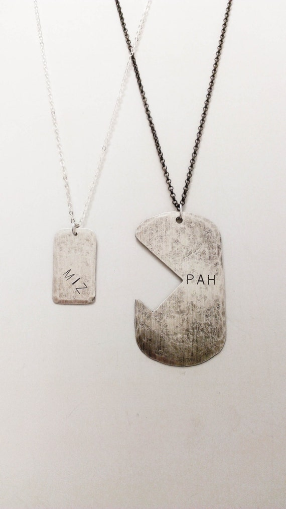 miz pah his and hers interlocking tag necklace puzzle
