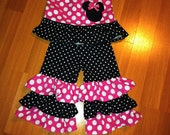 Pink Minnie Mouse Inspired Ruffled Outfit Polka Dots Applique Ruffle Pants and Top